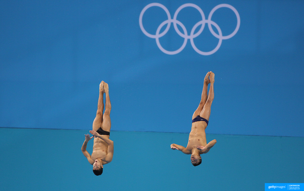 German Sanchez, (left), and Juan Garcia from Mexico, practicing for the Men's Synchronised 10m Platform event at the Diving Pool at the Aquatic Centre at Olympic Park, Stratford during the London 2012 Olympic games preparation at the London Olympics. London, UK. 22nd July 2012. Photo Tim Clayton