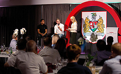 Joe Bryan and Korey Smith of Bristol City are interviewed on stage by Lisa Knights during the Lansdown Club event - Mandatory by-line: Robbie Stephenson/JMP - 06/09/2016 - GENERAL SPORT - Ashton Gate - Bristol, England - Lansdown Club -