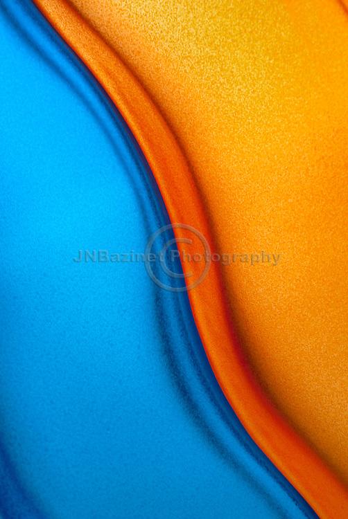 Backlit blue and orange glass