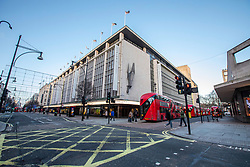 © Licensed to London News Pictures. 23/12/2019. John Lewis in Oxford Street. Oxford Street normally packed with traffic and shoppers remains empty as shops in the West End prepare for last minute Christmas rush. Alex Lentati/LNP