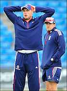 Andrew Freddie Flintoff (right) with coach Andy Flower during nets at Headingley on the 16th of July 2008..England v South Africa.Photo by Philip Brown.www.philipbrownphotos.com