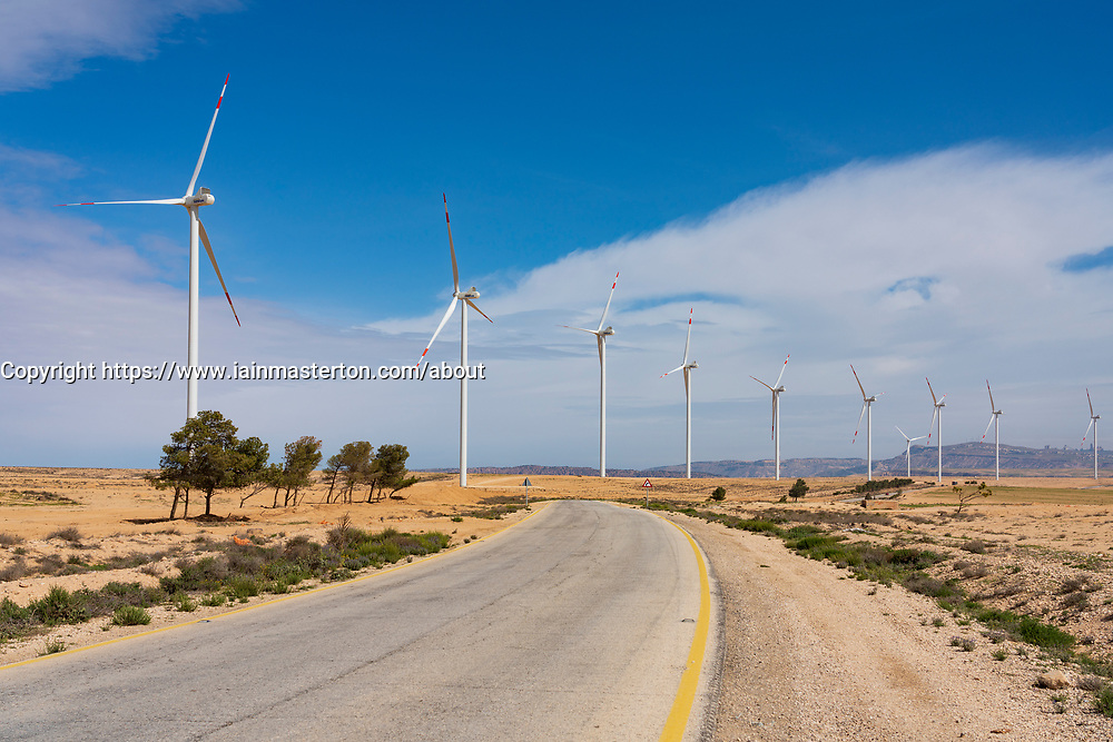 New wind farm beside King's Highway  in Ma'an Governorate in Jordan.
