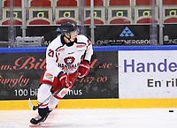 2019-10-23 | Ljungby, Sweden: Hanhals (21) Fabian Krantz during the game between IF Troja / Ljungby and Hanhals IF at Ljungby Arena ( Photo by: Fredrik Sten | Swe Press Photo )<br /> <br /> Keywords: Ljungby, Icehockey, HockeyEttan, Ljungby Arena, IF Troja / Ljungby, Hanhals IF, fsth191023, ATG HockeyEttan