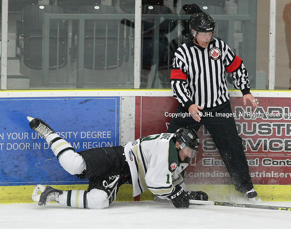 COBOURG, ON  - MAR 4,  2017: Ontario Junior Hockey League, playoff game between the Cobourg Cougars and the Kingston Voyageurs. Josh Maguire #19 of the Cobourg Cougars runs into the Referee during the second period.<br /> (Photo by Tim Bates / OJHL Images)