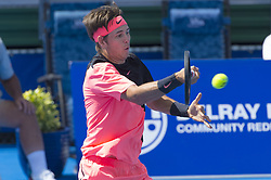 February 22, 2018 - Delray Beach, FL, United States - Delray Beach, FL - February 22: Jared Donaldson (USA) plays Denis Shapovalov (CAN) at the 2018 Delray Beach Open held at the Delray Beach Tennis Center in Delray Beach, Florida.   Credit: Andrew Patron/Zuma Wire (Credit Image: © Andrew Patron via ZUMA Wire)