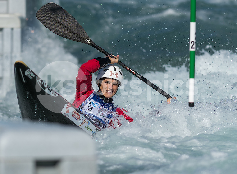 Maialen Chourraut of Spain competes in the K1 during the ICF Canoe Slalom World Championship 2015 at Lee Valley White Water Centre, London, United Kingdom on 19 September 2015. Photo by Vince  Mignott.