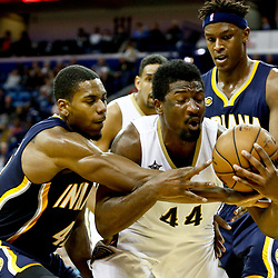 Dec 15, 2016; New Orleans, LA, USA; New Orleans Pelicans forward Solomon Hill (44) and Indiana Pacers guard Jeff Teague (44) fight for possession of the ball during the second half of a game at the Smoothie King Center. The Pelicans defeated the Pacers 102-95. Mandatory Credit: Derick E. Hingle-USA TODAY Sports