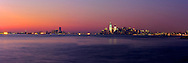 Photos at sunset of the Manhattan and New Jersey skylines from the Bay Ridge neighborhood of Brooklyn.  Also shown is the Statue of Liberty.