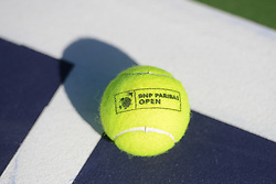 March 7, 2017 - Indian Wells, California, United States - A tennis ball on a court at the Indian Wells Tennis Garden. (Credit Image: © Christopher Levy via ZUMA Wire)