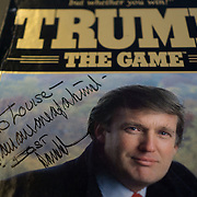 MIAMI BEACH, FLORIDA - NOVEMBER 20, 2015: <br /> Donald Trump dedicated Trump the Game set to Louise Sunshine, a powerful real estate developer who worked for Donald Trump for  15 years starting in the 70's  and rose to Senior Vice President in Trump Enterprises. Sunshine keeps several mementos of her time with Trump in her house. (Photo by Angel Valentin/Freelance)