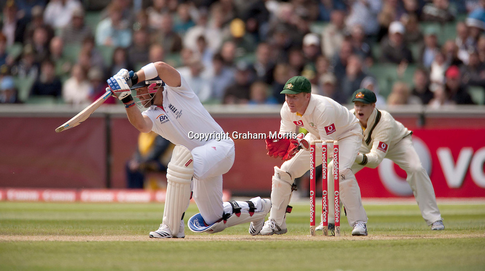 Matt Prior bats during the fourth Ashes test match between Australia and England at the MCG in Melbourne, Australia. Photo: Graham Morris (Tel: +44(0)20 8969 4192 Email: sales@cricketpix.com) 27/12/10