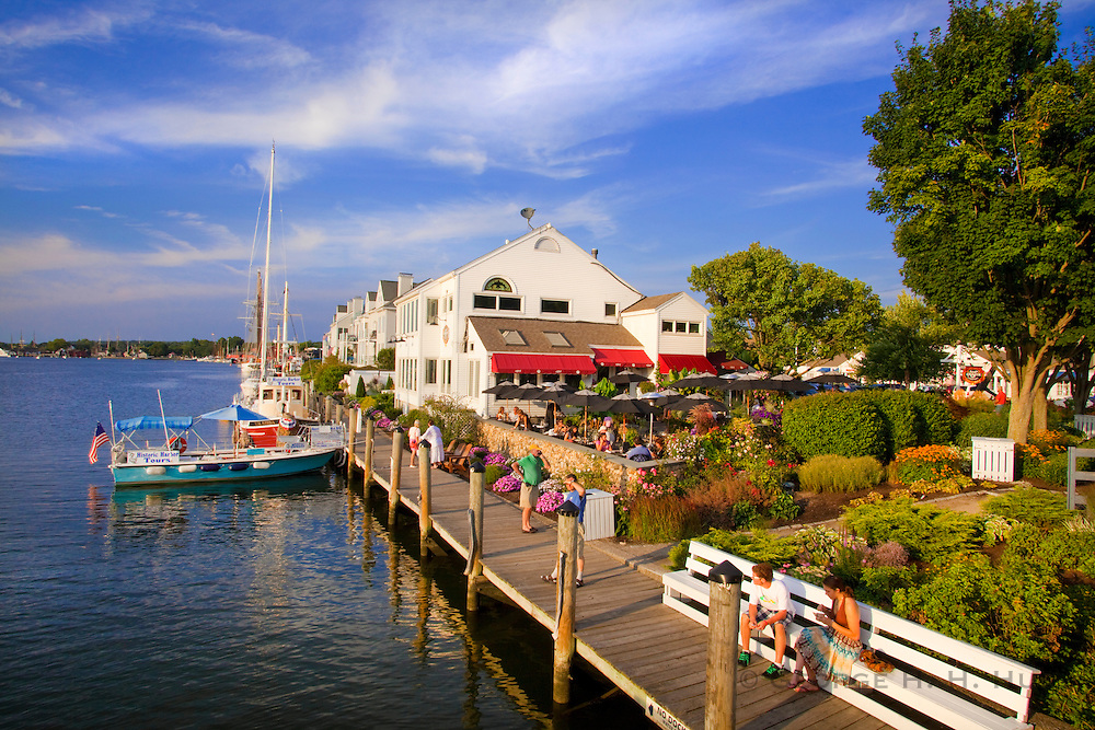 351021-1007G.Huey ~ Copyright: George H.H. Huey ~ S&P Oyster Company Restaurant and dock.  Downtown Mystic, Connecticut.