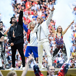 Pre match entertainment Nicky Jam with Will Smith during the World Cup Final match between France and Croatia at Luzhniki Stadium on July 15, 2018 in Moscow, Russia. (Photo by Anthony Dibon/Icon Sport)