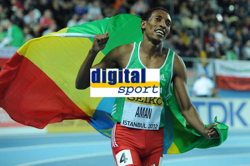 ATHLETICS - WORLD CHAMPIONSHIPS INDOOR 2012 - ISTANBUL (TUR) 09 to 11/03/2012 - PHOTO : STEPHANE KEMPINAIRE / KMSP / DPPI - <br /> 800 M - MEN - FINALE - GOLD MEDALE - MOHAMMED AMAN (ETH)