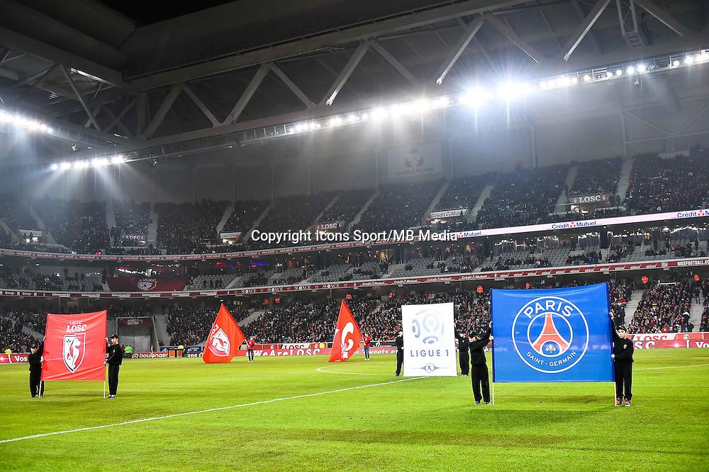 Vue generale Grand Stade de Lille - Fanion Lille / Fanion Paris Saint Germain - 03.12.2014 - Lille / Paris Saint Germain - 16eme journee de Ligue 1 -<br />Photo : Fred Porcu / Icon Sport
