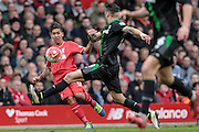 Roberto Firmino (Liverpool) crosses the ball into the Stoke box during the Barclays Premier League match between Liverpool and Stoke City at Anfield, Liverpool, England on 10 April 2016. Photo by Mark P Doherty.