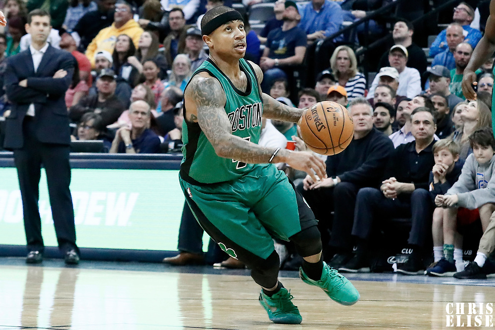 10 March 2017: Boston Celtics guard Isaiah Thomas (4) drives during the Denver Nuggets 119-99 victory over the Boston Celtics, at the Pepsi Center, Denver, Colorado, USA.