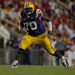 19 September 2009: LSU Tigers tackle Ciron Black (70) in pass protection during a 31-3 win by the LSU Tigers over the University of Louisiana-Lafayette Ragin Cajuns at Tiger Stadium in Baton Rouge, Louisiana.