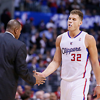 16 December 2013: Los Angeles Clippers power forward Blake Griffin (32) is congratulated by Los Angeles Clippers head coach Doc Rivers during the Los Angeles Clippers 115-92 victory over the San Antonio Spurs at the Staples Center, Los Angeles, California, USA.