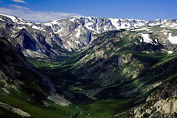 Red Lodge, Mt:  The view of the Rock Creek Canyon and Hell Roaring Plateau from Vista Point on the Beartooth All-American Road, one of the most scenic drives in America.