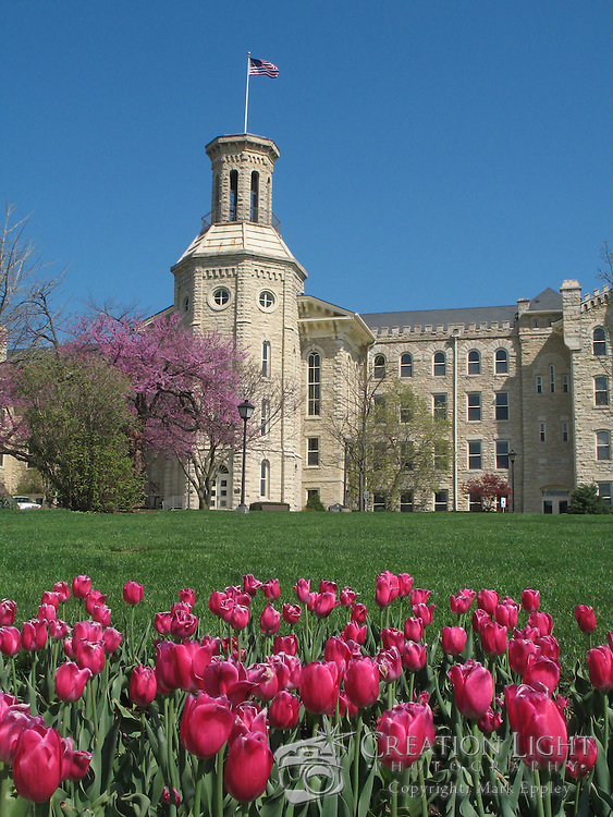 """Wheaton College in Wheaton, IL was founded in 1860.   Wheaton's """"Old Main."""" Blanchard was built in four sections beginning in 1853 and was completed in 1927. Named for Jonathan Blanchard, the College's founder and first president, and his son, Charles Blanchard, the second president, the building is the oldest and most recognized on campus..The building's castle-like architecture was patterned after buildings at Oxford University which Dr. Jonathan Blanchard admired. It is constructed of native Illinois limestone that was quarried in Batavia, Illinois."""