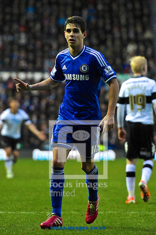 Picture by Ian Wadkins/Focus Images Ltd +44 7877 568959<br /> 05/01/2014<br /> Oscar of Chelsea celebrates after scoring to make it 2-0 during the The FA Cup match at the Ipro Stadium, Derby.