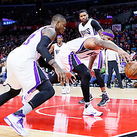 16 January 2016: Sacramento Kings center DeMarcus Cousins (15) reaches for the ball next to Sacramento Kings guard Ben McLemore (23) during the Sacramento Kings 110-103 victory over the Los Angeles Clippers, at the Staples Center, Los Angeles, California, USA.
