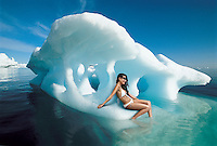 Woman Sitting on Iceberg
