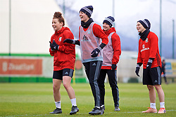 ZENICA, BOSNIA AND HERZEGOVINA - Monday, November 27, 2017: Wales' Angharad James and captain Sophie Ingle during a training session ahead of the FIFA Women's World Cup 2019 Qualifying Round Group 1 match against Bosnia and Herzegovina at the FF BH Football Training Centre. (Pic by David Rawcliffe/Propaganda)