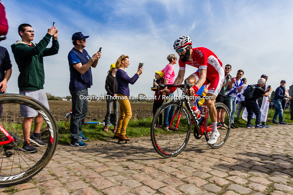 Rider of Cofidis, Solutions Credits at the 4 star cobblestone sector 17 from Hornaing to Wandignies during the 2018 Paris-Roubaix race, France, 8 April 2018, Photo by Thomas van Bracht / PelotonPhotos.com | All photos usage must carry mandatory copyright credit (Peloton Photos | Thomas van Bracht)