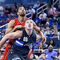 25 February 2017: Orlando Magic forward Aaron Gordon (00) vies for the rebound with Atlanta Hawks forward Thabo Sefolosha (25) during the Orlando Magic 105-86 victory over the Atlanta Hawks, at the Amway Center, Orlando, Florida, USA.