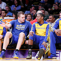 11 April 2014: Golden State Warriors guard Steve Blake (25), Golden State Warriors forward David Lee (10), Golden State Warriors guard Jordan Crawford (55) are seen on the bench during the Golden State Warriors 112-95 victory over the Los Angeles Lakers at the Staples Center, Los Angeles, California, USA.