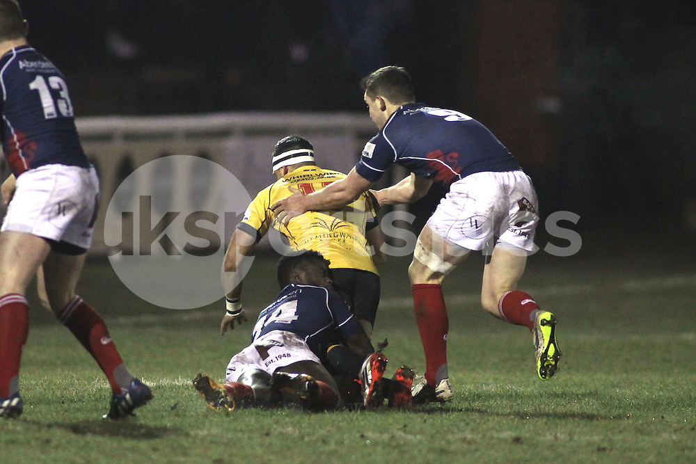 Matt Williams and Jamie Stevenson in action during the Green King IPA Championship match between London Scottish &amp; Cornish Pirates at Richmond, Greater London on 16th January 2015<br /> <br /> Photo: Ken Sparks | UK Sports Pics Ltd<br /> London Scottish v Cornish Pirates, Green King IPA Championship, 16h January 2015<br /> <br /> &copy; UK Sports Pics Ltd. FA Accredited. Football League Licence No:  FL14/15/P5700.Football Conference Licence No: PCONF 051/14 Tel +44(0)7968 045353. email ken@uksportspics.co.uk, 7 Leslie Park Road, East Croydon, Surrey CR0 6TN. Credit UK Sports Pics Ltd
