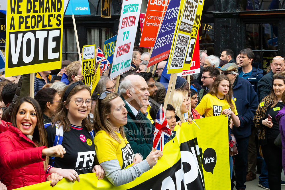 Tens of thousands of people led by Lib-Dems Leader Vince Cable, from across the UK march along Pall Mall from Park Lane to Parliament demanding a People's Vote on the EU withdrawal agreement before the UK leaves the EU. London, March 23 2019