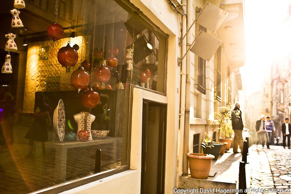 Street scene and Galata ceramics retailer SIR, Galata, Istanbul, Turkey