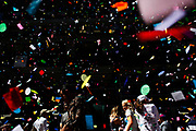 Confetti falls during the Broadway on Broadway Festival at Times Square. (NYC & Company)