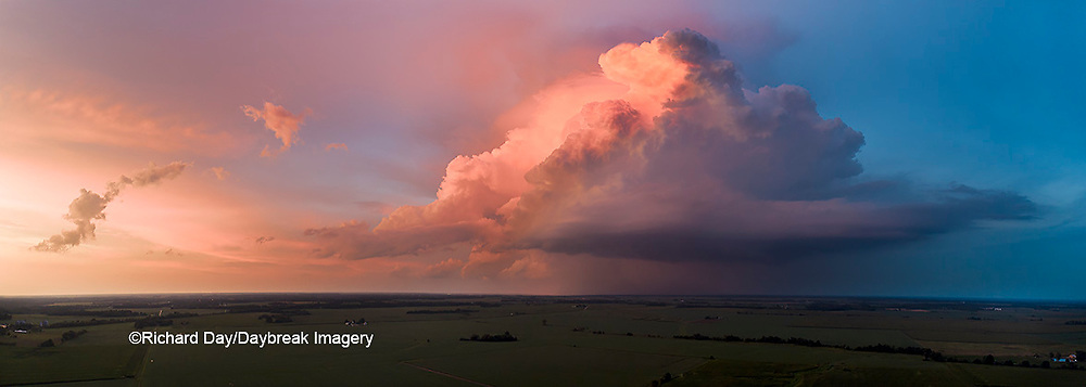 63891-03120 Aerial view of thunderstorm clouds at sunset Marion Co. IL