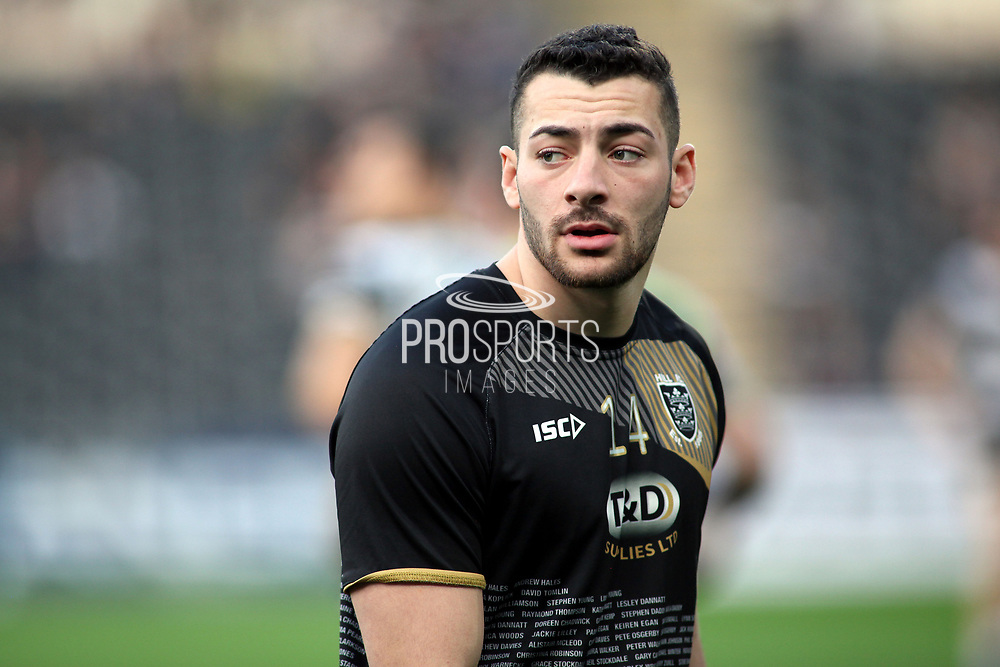 Hull FC outside back Jake Connor (14) prior to  the Betfred Super League match between Hull FC and Leeds Rhinos at Kingston Communications Stadium, Hull, United Kingdom on 19 April 2018. Picture by Mick Atkins.