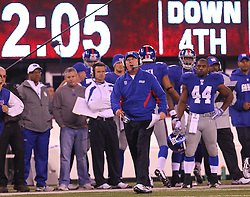 Dec 4, 2011; East Rutherford, NJ, USA; The New York Giants head coach Tom Coughlin reacts to a call during the first half at MetLife Stadium.