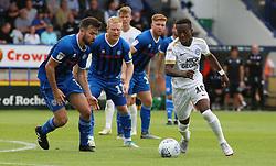 Siriki Dembele of Peterborough United takes on the Rochdale defence - Mandatory by-line: Joe Dent/JMP - 11/08/2018 - FOOTBALL - Crown Oil Arena - Rochdale, England - Rochdale v Peterborough United - Sky Bet League One