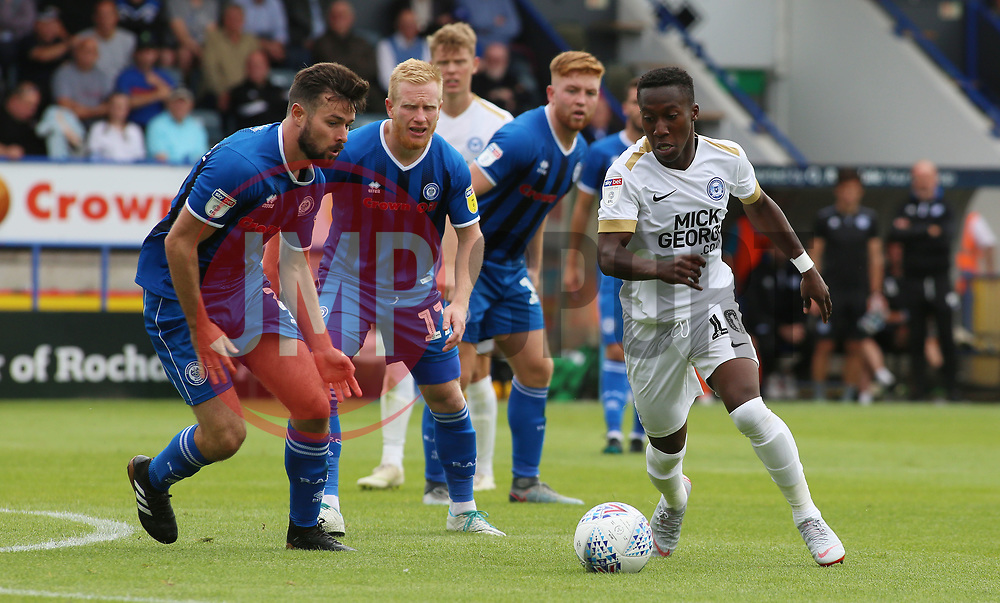 Siriki Dembele of Peterborough United takes on the Rochdale defence - Mandatory by-line: Joe Dent/JMP - 11/08/2018 - FOOTBALL - Crown Oil Arena - Rochdale, England - Rochdale v Peterborough United - Sky Bet League One