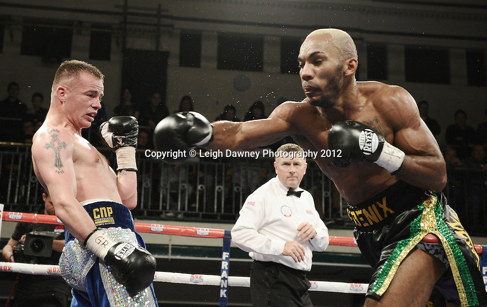 Frankie Gavin defeats Junior Witter after twelve rounds for the British Welterweight title at York Hall, Bethnal Green, London on the 1st Novemeber 2012. Frank Warren Promotions. © Leigh Dawney Photography 2012.
