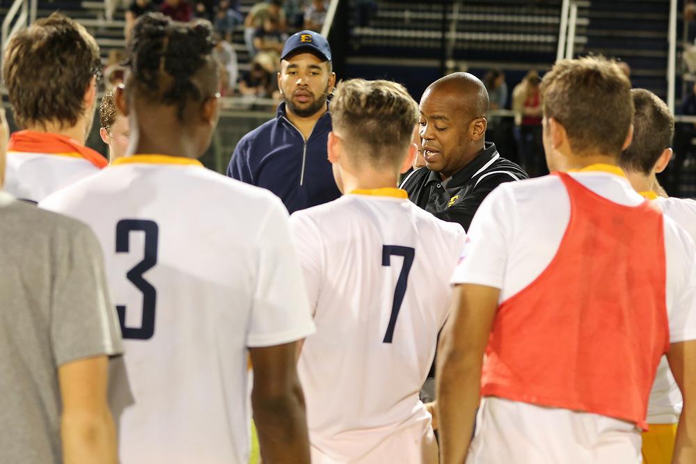 October 6, 2017 - Johnson City, Tennessee - Summers-Taylor Stadium: ETSU head coach Bo Oshoniyi<br /> <br /> Image Credit: Dakota Hamilton/ETSU