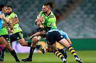 SYDNEY, NSW - MAY 19: Highlanders player Elliot Dixon hit in a good tackle by Waratahs player Bernard Foley at week 14 of the Super Rugby between The Waratahs and Highlanders at Allianz Stadium in Sydney on May 19, 2018. (Photo by Speed Media/Icon Sportswire)