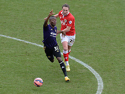 Bristol City's Luke Ayling battles for the ball with West Ham's Enner Valencia - Photo mandatory by-line: Alex James/JMP - Mobile: 07966 386802 - 25/01/2015 - SPORT - Football - Bristol - Ashton Gate - Bristol City v West Ham United - FA Cup Fourth Round