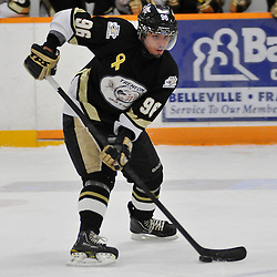 TRENTON, ON - Nov 9: Ontario Junior Hockey League game between Whitby Fury and Trenton Golden Hawks. Sammy Banga #96 of the Trenton Golden Hawks skates with the puck during first period game action..(Photo by Shawn Muir / OJHL Images)