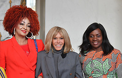 Exclusive - France's first lady Brigitte Macron welcomes Congo's first lady Denise Nyakeru Tshisekedi, Mali's first lady Keïta Aminata Maiga, Sierra Leone's first lady Fatima Maada Bio, Liberia's first lady Clar Weah, Niger's first lady Lalla Malika Issoufou, Cameroun's first lady Chantal Biya, Tchad's first lady Hinda Deby Itno at the Elysee presidential palace in Paris, France, on November 12, 2019. Photo by Christian Liewig/ABACAPRESS.COM