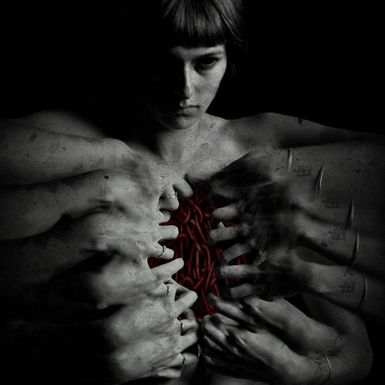 A conceptual image of a woman with many hands opening her chest