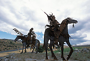 THIS PHOTO IS AVAILABLE FOR WEB DOWNLOAD ONLY. PLEASE CONTACT US FOR A LARGER PHOTO. Idaho. Highway 95 near Lewiston. Metal Indian sculptures along road