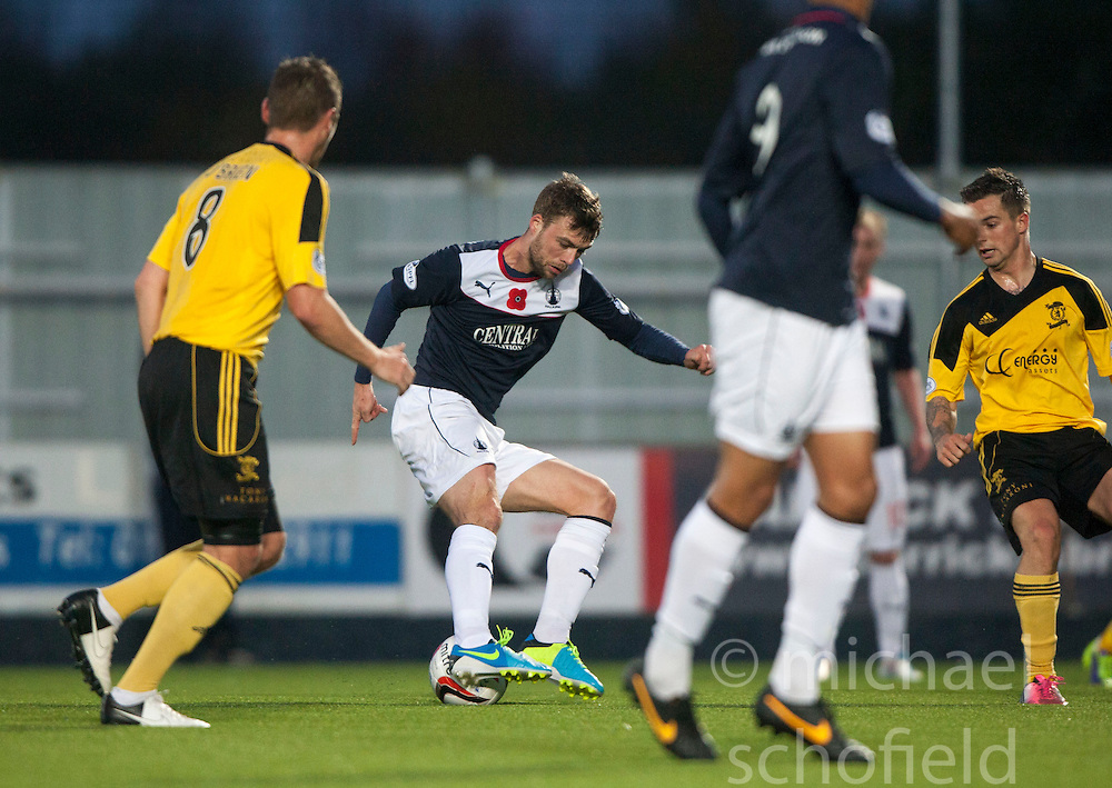 Falkirk's Rory Loy on way to scoring their fourth goal.<br /> Falkirk 4 v 1 Livingston, Scottish Championship game played today at the Falkirk Stadium.<br /> &copy;Michael Schofield.